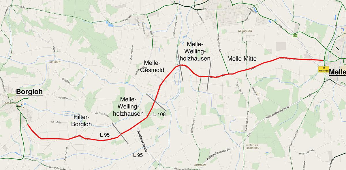 Streckenverlauf Radweg Allendorfer Strasse