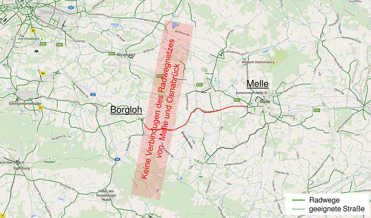 Verbindung Radweg Osnabrück Melle