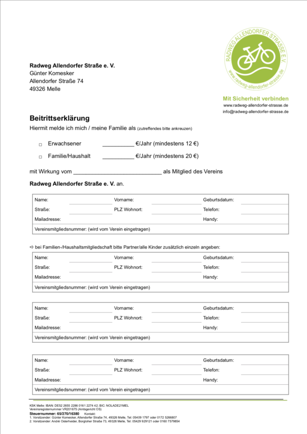 Mitgliedserklärung Radweg Allendorfer Strasse